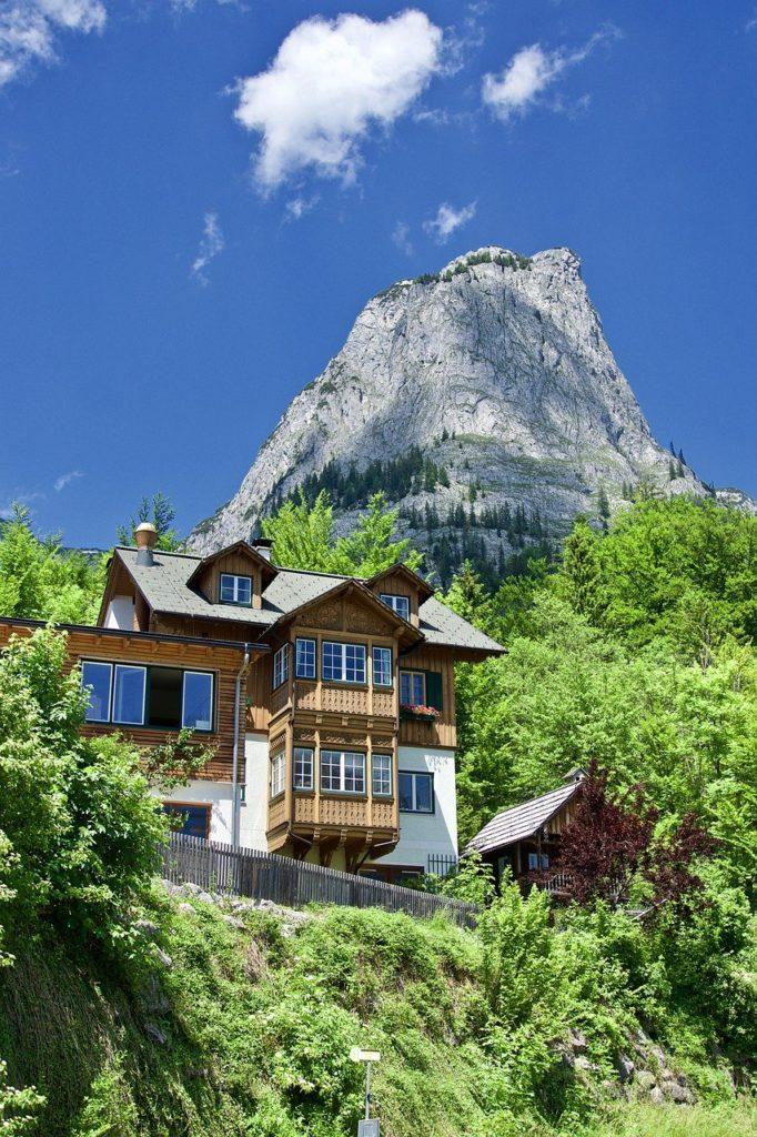 mountain, house, alpine